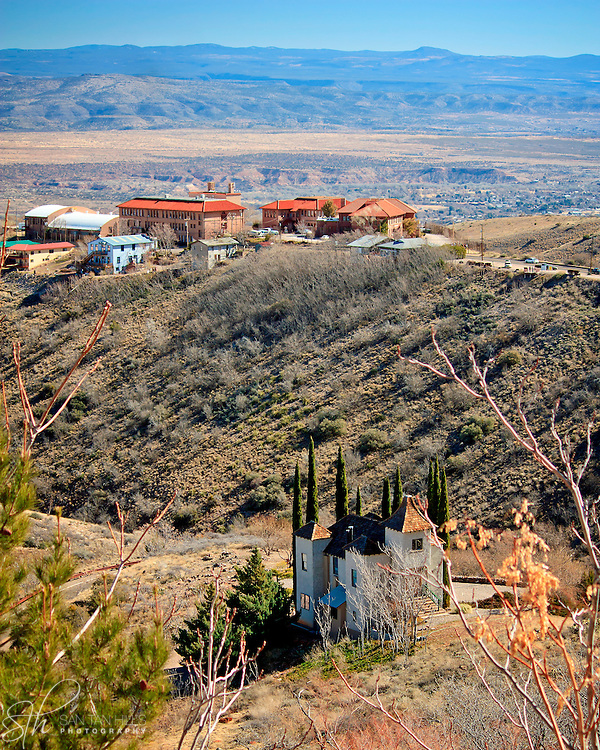 The view from Cleopatra Hill, with Jerome's famous Powder box Church in the foreground, Jerome, AZ