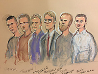 An alleged member of banned far-right group National Action has admitted planning to murder MP Rosie Cooper.<br /> <br /> Jack Renshaw, 23, (far right, white shirt) of Skelmersdale, Lancashire, pleaded guilty to preparing an act of terrorism by buying a machete with the intention of killing the Labour MP for West Lancashire.<br /> <br /> He is among six men who deny being members of a proscribed organisation.