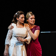 Edinburgh International Festival (EIF). Don Giovanni (Opera) by Wolfgang Amadeus Mozart. Conducted by Iv&agrave;n Fischer. From left: Sylvia Schwartz as Zerlina and Lucy Crowe as Donna Elvira. Festival Theatre, Edinburgh.  08 Aug 2017. Edinburgh. Credit: Photo by Tina Norris. Copyright photograph by Tina Norris. Not to be archived and reproduced without prior permission and payment. Contact Tina on 07775 593 830 info@tinanorris.co.uk  <br /> www.tinanorris.co.uk