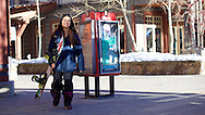 Chloe Kim arrives outside Camp Hale Coffee at the base to get ready for a day of training at Copper Mountain in Copper Mountain, CO. ©Brett Wilhelm/ESPN