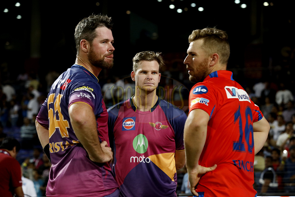 Daniel Christian of Rising Pune Supergiant ,Steven Smith caption of Rising Pune Supergiant and Aaron Finch of the Gujarat Lions chat after the match 39 of the Vivo 2017 Indian Premier League between the Rising Pune Supergiants and the Gujarat Lions held at the MCA Pune International Cricket Stadium in Pune, India on the 1st May 2017<br /> <br /> Photo by Arjun Singh - Sportzpics - IPL