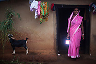 Sheila Devi, 38, a SAMVAD beneficiary who owns a D-light solar panel lamp in a village where a lift pump irrigation system has been installed in Lalpur, Jharkhand, India Tuesday, Oct. 9, 2012 (Photo/Elizabeth Dalziel for Christian Aid)