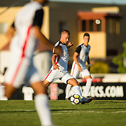 09 September 2018: San Diego State Aztecs midfielder Hampus Bergdahl (15) boots the ball down the field in the second half. The San Diego State men's soccer team beat UC Irvine in overtime 2-1 Sunday afternoon at the SDSU Sports Deck.
