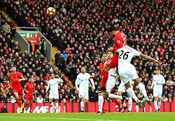 Emre Can of Liverpool fires a header at goal  - Mandatory by-line: Matt McNulty/JMP - 21/01/2017 - FOOTBALL - Anfield - Liverpool, England - Liverpool v Swansea City - Premier League