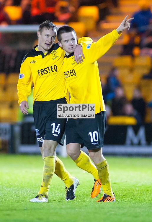 Marc McNulty celebrates scoring, Livingston v Falkirk, SFL Division 1, Braidwood Motor Company Stadium, Monday 2nd January 2012