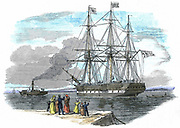 British emigrant ship being towed out of harbour before setting sail for Sydney, Australia. Certain skilled men and their families were given assisted passages, as were some single women between 18 and 30 who had been domestic or farm servants. Wood engraving 1852.