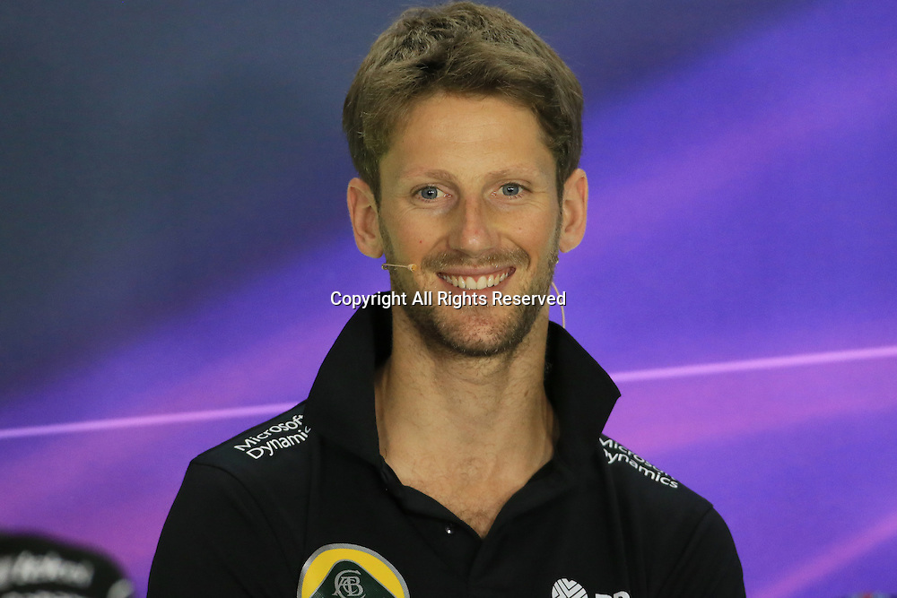 23.07.2015.  Hungaroring, Budapest, Hungary. FIA Formual 1 Grand Prix of Hungary. Drivers press conference.  Lotus F1 Team – Romain Grosjean