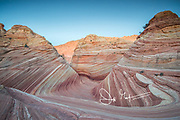 The Wave sandstone rock formation, located in Coyote Buttes North, Paria Canyon, Vermillion Cliffs Wilderness.