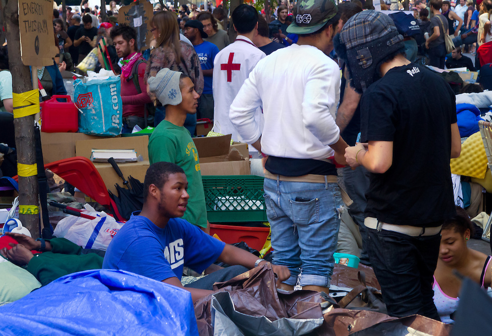 Supplemental, Occupy Wall Street. The 99% percenters demonstrating their anger with Wall Street's greed by occupying Zuccotti Park. Just off lower Broadway almost at the foot step of the new World Trade Center.