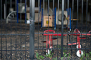 The gate leading into a playground at the Prime Prep Academy campus in Fort Worth, Texas is locked on August 4, 2014. (Cooper Neill for The New York Times)