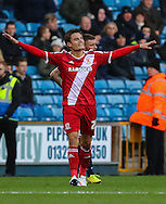 Jelle Vossen of Middlesbrough celebrates scoring the opening goal against Millwall during the Sky Bet Championship match at The Den, London<br /> Picture by David Horn/Focus Images Ltd +44 7545 970036<br /> 06/12/2014