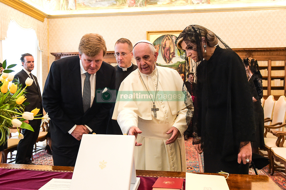 Pope Francis meets with King Willem-Alexander and Queen Maxima of the Netherlands during a meeting at the Vatican.