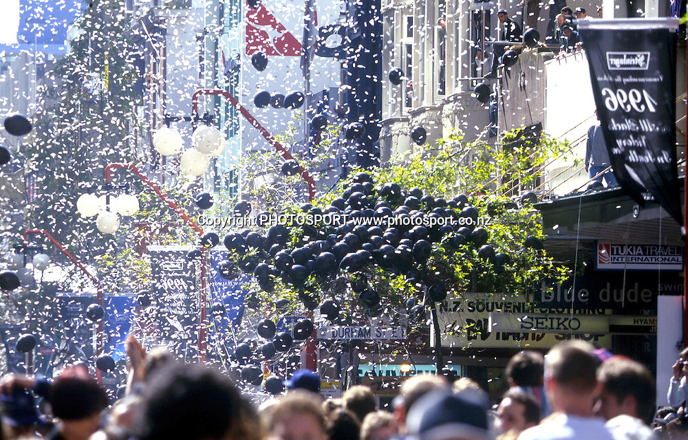 The All Blacks ticker-tape parade, 1996. Rugby Union, New Zealand. Photo: photosport.co.nz