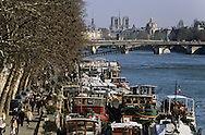 France. Paris. 1st district. the quay du Louvre on  the seine river /   le quai du Louvre au bord de la Seine