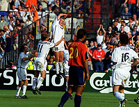 Steffen Iversen celebrates scoring Norway's winning goal.  Norway v Spain, Euro 2000 Group C, Rotterdam, 13/06/2000. Credit: Colorsport / Matthew Impey