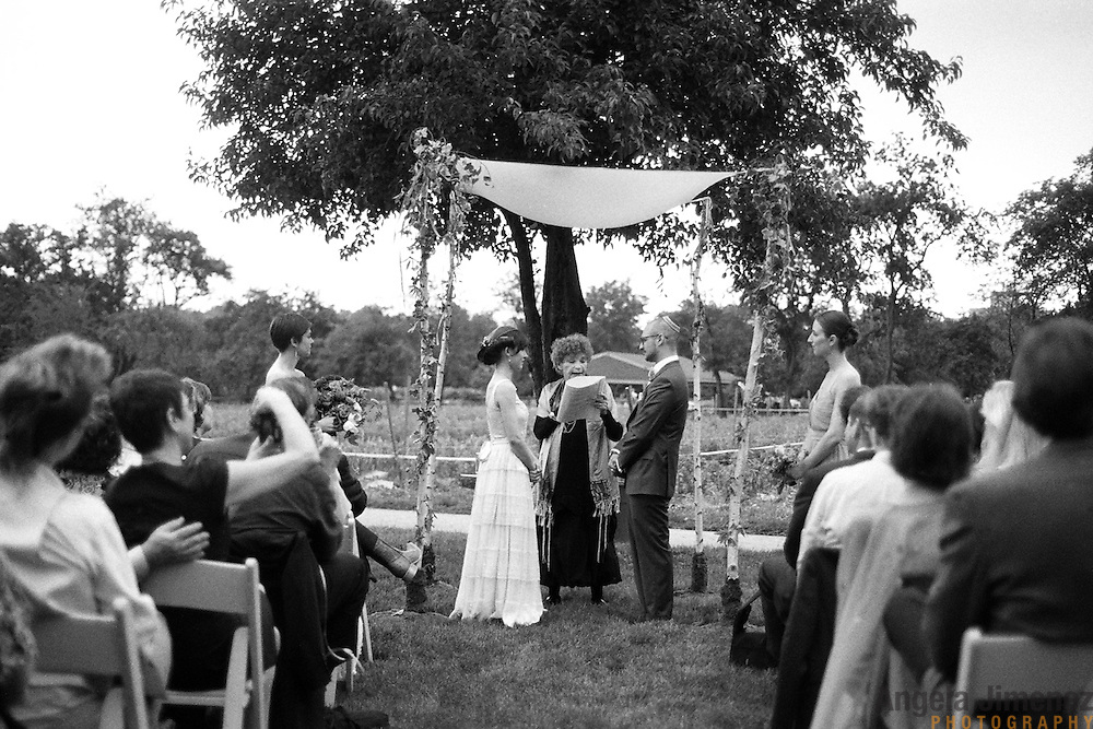 The wedding of Evan & Rebekah at the Queens County Farm Museum in Queens, New York on June 12, 2011. ..Photo by Angela Jimenez .www.angelajimenezphotography.com