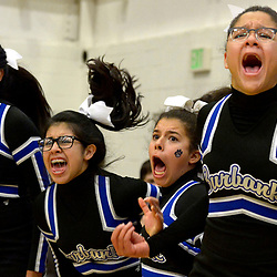 Burbank cheerleaders react after a basket against Brentwood in the second half of a CIF-SS Division 3AA Championship basketball game at the Felix Event Center on the west campus of Azusa Pacific University in Azusa, Calif., on Friday, March, 03, 2017. Brentwood won 55-54 in overtime.