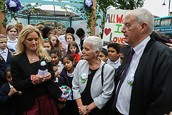 © Licensed to London News Pictures. 16/06/2017. Birstall, UK. Jo Cox's sister Kim Leadbeater, mother Jean Leadbeater and father Gordon Leadbeater along with members of the local community gather in Birstall town square where the Labour MP was murdered a year ago today. Events are planned to take place across the country this weekend in memory of Jo Cox in what is being called 'The Great Get Together'. Credit: Ian Hinchliffe Photo credit : Ian Hinchliffe/LNP