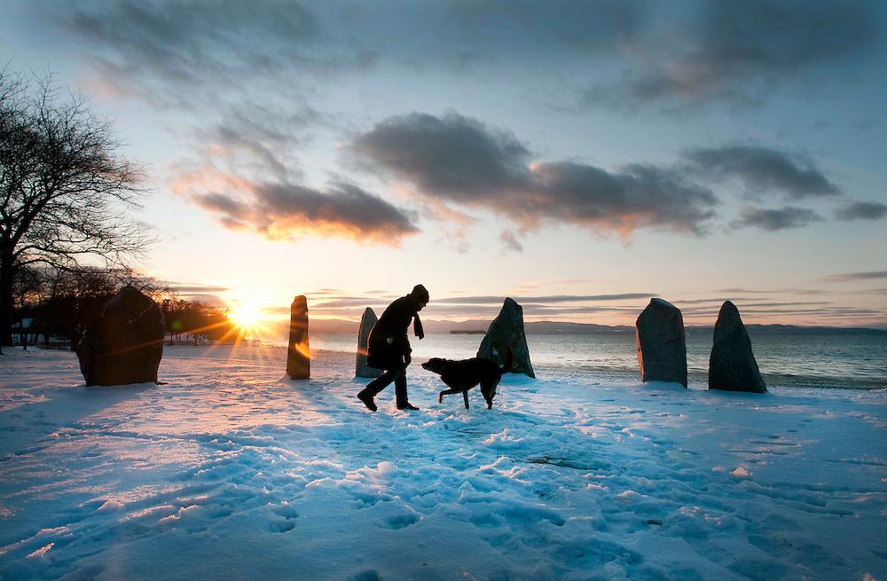 Winter in Burlington, Vermont on Lake Champlain.
