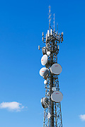 Urban provincial  cellular, microwave and telecom communications systems lattice tower in Swan Hill, Victoria, Australia.