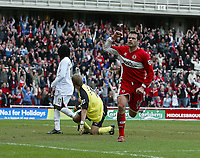 Photo: Andrew Unwin.<br /> Middlesbrough v Bolton Wanderers. The Barclays Premiership. 26/03/2006.<br /> Middlesbrough's Mark Viduka (R) celebrates scoring his team's second goal.
