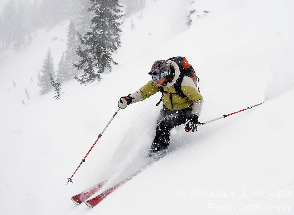NEWS&GUIDE PHOTO / BRADLY J. BONER.Jen Malloy finds a powder stash in the Jackson Hole Mountain Resort backcountry created by several inches of late-season snow that fell over the weekend. The resort has received about four feet of snow since March 25.