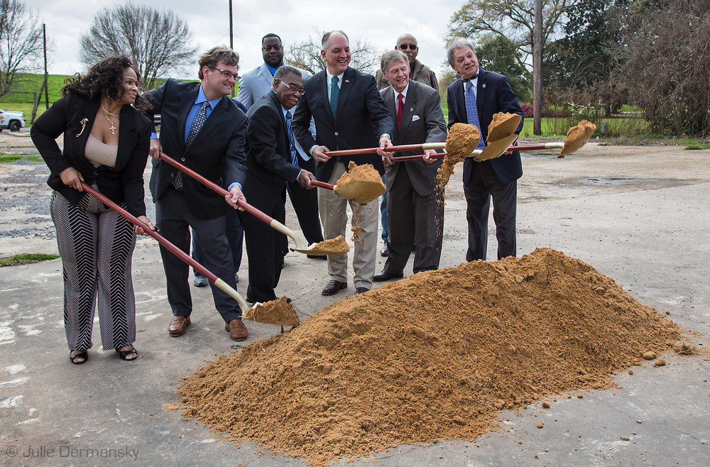Gov. John Bell Edwards, front and third from right, at the groundbreaking ceremony in St. Joseph, Louisiana, for the new municipal water system. Edwards made an emergency health proclamation on December 16, 2016, enabling a fast-tracked replacement of St. Joseph's water system after lead was found in the water.