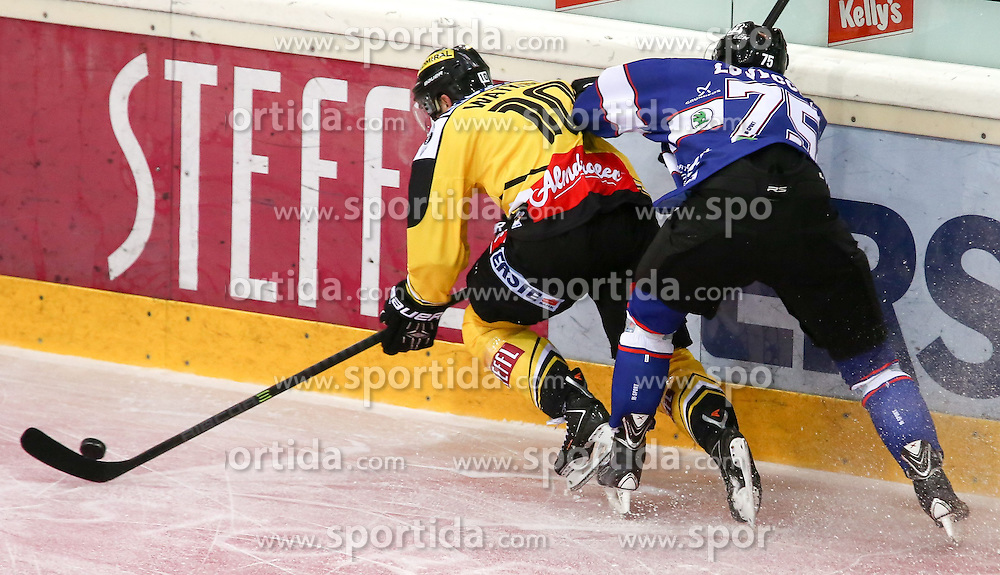 14.09.2014, Albert Schultz Eishalle, Wien, AUT, EBEL, UPC Vienna Capitals vs Fehervar AV19, 2. Runde, im Bild Watt Watkins (UPC Vienna Capitals) und Jeff Lovecchio (Fehervar AV19) // during the Erste Bank Icehockey League 2nd round match between UPC Vienna Capitals and Fehervar AV19 at the Albert Schultz Ice Arena in Vienna, Austria on 2014/09/14. EXPA Pictures © 2014, PhotoCredit: EXPA/ Alexander Forst
