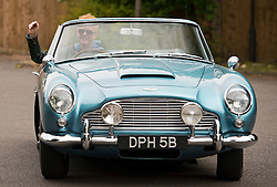 © Licensed to London News Pictures. 17/06/2015. London, UK. Presenter CHRIS EVANS pictured driving a classic Aston Martin covetable DB5 car in west Lodnon, a day after it was announced that he will be the new presenter of Top Gear. Photo credit: Ben Cawthra/LNP