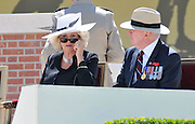 Camilla Parker-Bowles and husband of the Australian Governor General Quentin Bryce Professor Michael Bryce - At the re-internment of the UNKNOWN SOLDIER (WWI) PHEASANT WOOD FROMELLES FRANCE .BY JAYNE RUSSELL 19TH JULY 2010..VC CORNER ON THE MORNING OF THE SERVICE.