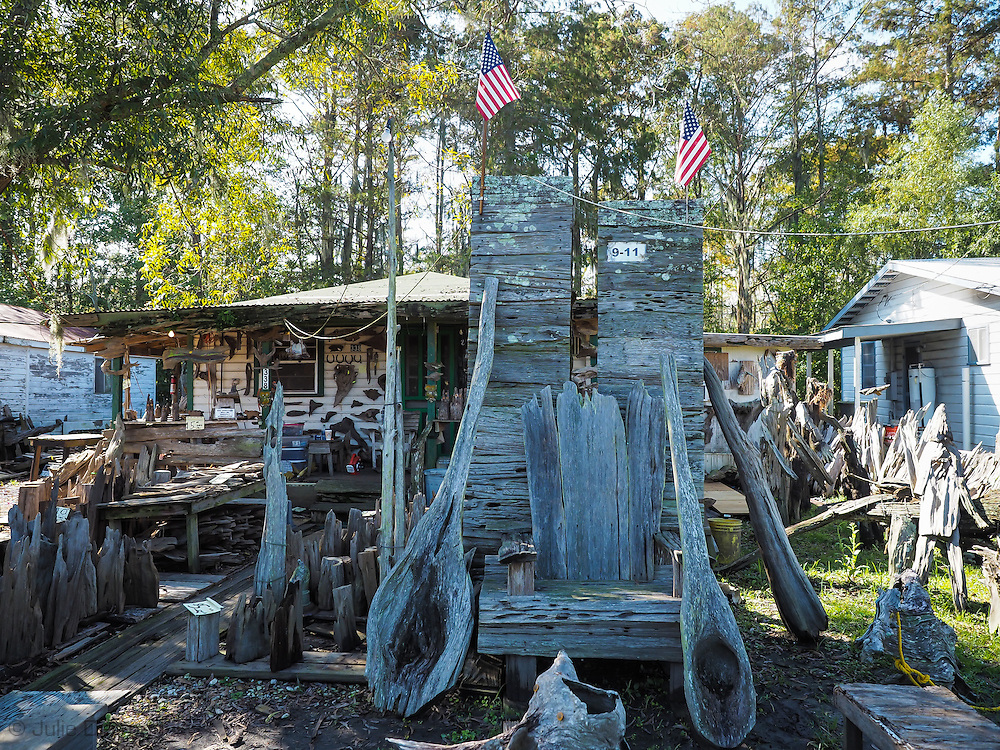 Sculture of the World Trade Center by self-taught artist at Adam's Cypress Swamp Driftwood Family Museum in Pierre Part, Louisiana.