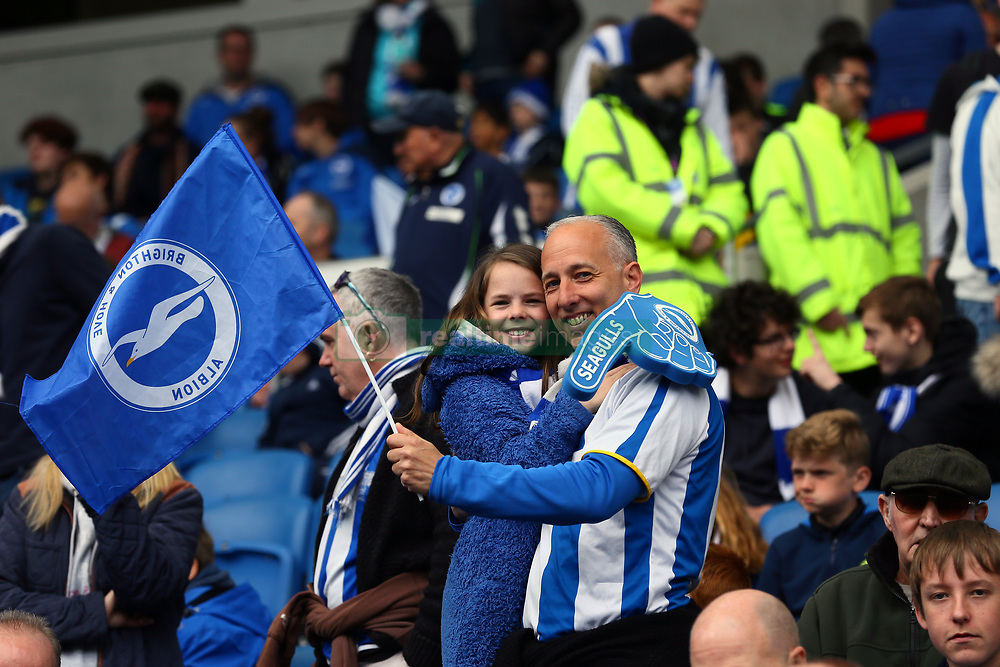 Brighton and Hove Albion fans in the stands during the Sky Bet Championship match at the AMEX Stadium, Brighton.