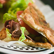 12/17/10 Wilmington DE: Coal Oven Roast Beef Sandwich served with Romaine Lettuce &amp; Tomato served on Focaccia Bread at Anthony's Coal Fired Pizzas in Wilmington Delaware.<br /> <br /> Special to The News Journal/SAQUAN STIMPSON