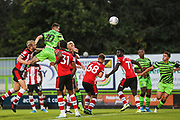 Forest Green Rovers Liam Kitching(20) heads the ball towards goal  during the EFL Trophy match between Forest Green Rovers and U21 Southampton at the New Lawn, Forest Green, United Kingdom on 3 September 2019.