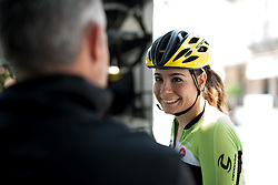 Sheyla Gutierrez (Cylance Pro Cycling) chats with her DS, Manel Lacambra ahead of the final stage of the Giro Rosa 2016 on 10th July 2016. A 104km road race starting and finishing in Verbania, Italy.