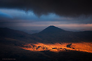 During awful, dreary weather in Snowdonia, a break appeared in the clouds and evening sunshine flooded in an upon this soft and ancient Welsh landscape. It looks as though a theatre spot light has been turned on but the lighting is natural and just the way I saw it.