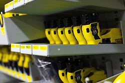 © Licensed to London News Pictures . 13/06/2019. Manchester , UK . Police issue TASERS in the store . Inside Greater Manchester Police's weapons store at Claytonbrook in Openshaw where police issue firearms and recovered weapons are held . Photo credit : Joel Goodman/LNP