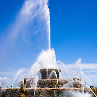 Picture of Buckingham Fountain in Chicago. Buckingham Fountain in Chicago is located in Grant Park and is one of Chicago's most popular and well known attractions.