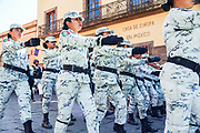 Members of the Mexican National Guards march in a parade to celebrate the 251st birthday of the Mexican Independence hero Ignacio Allende January 21, 2020 in San Miguel de Allende, Guanajuato, Mexico. Allende, from a wealthy family in San Miguel played a major role in the independency war against Spain in 1810 and later honored by his home city by adding his name.