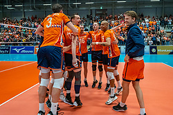 12-06-2019 NED: Golden League Netherlands - Estonia, Hoogeveen<br /> Fifth match poule B - The Netherlands win 3-0 from Estonia in the series of the group stage in the Golden European League / Nimir Abdelaziz #14 of Netherlands, Tim Smit #12 of Netherlands, Gijs van Solkema #15 of Netherlands, Daan van Haarlem #1 of Netherlands