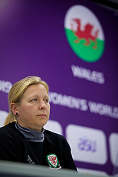 ASTANA, KAZAKHSTAN - Saturday, September 16, 2017: Wales' manager Jayne Ludlow during a press conference at the Astana Arena ahead of the FIFA Women's World Cup 2019 Qualifying Round Group 1 match against Kazakhstan. (Pic by David Rawcliffe/Propaganda)