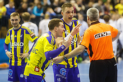 Zarabec Miha #23 of RK Celje Pivovarna Lasko with Poteko Vid #15 of RK Celje Pivovarna Lasko during handball match between RK Celje Pivovarna Lasko (SLO) and IFK Kristianstad (SWE) in Group phase of EHF Men's Champions League 2016/17, on February 11, 2017 in Arena Zlatorog, Celje, Slovenia. Photo by Grega Valancic