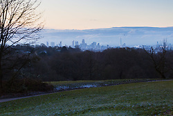 "Distant clouds are seen over south east London. The threatened snow from ""The Beast From The East"" weather system doesn't materialise overnight in London leaving a crisp, clear morning, seen from Hampstead Heath in North London. London, February 27 2018."