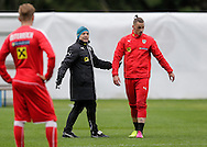 Marco Arnautovic (right) with head coach Marcel Koller during Austria training camp ahead of Euro 2016 at Raiffeisen Arena Crap Gries, Schluein<br /> Picture by EXPA Pictures/Focus Images Ltd 07814482222<br /> 23/05/2016<br /> ***UK &amp; IRELAND ONLY***<br /> EXPA-RIN-160523-0192