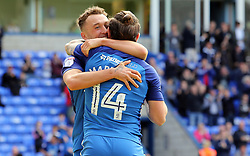 Ricky Miller of Peterborough United congratulated goal scorer Jack Marriott after scoring the opening goal of the game - Mandatory by-line: Joe Dent/JMP - 30/09/2017 - FOOTBALL - ABAX Stadium - Peterborough, England - Peterborough United v Oxford United - Sky Bet League One