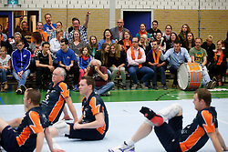 11-05-2013 VOLLEYBAL: NK ZITVOLLEYBAL : BELFELD<br /> BVC Holyoke wint met 3-2 van Kindercentrum Alterno, publiek support voor BVC Holyoke<br /> &copy;2013-FotoHoogendoorn.nl / Pim Waslander
