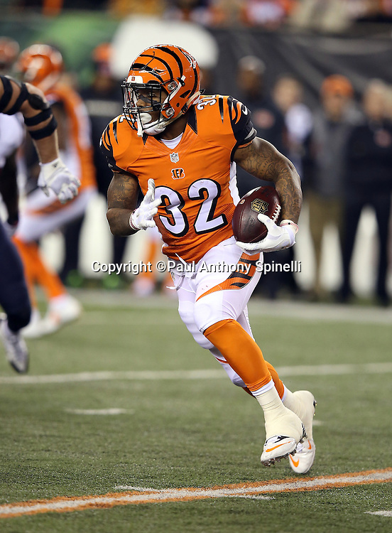 Cincinnati Bengals running back Jeremy Hill (32) runs the ball in the second quarter during the 2015 week 10 regular season NFL football game against the Houston Texans on Monday, Nov. 16, 2015 in Cincinnati. The Texans won the game 10-6. (©Paul Anthony Spinelli)