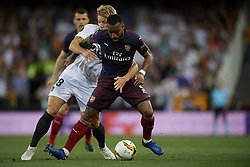 May 9, 2019 - Valencia, Spain - Lacazette of Asenal and Daniel Wass of Valencia controls the ball during the UEFA Europa League Semi Final Second Leg match between Valencia and Arsenal at Estadio Mestalla on May 9, 2019 in Valencia, Spain. (Credit Image: © Jose Breton/NurPhoto via ZUMA Press)