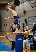 Champlin Park sophomore Taylor Guckeen rounds off over the vault during the dual gymnastics meet against Coon Rapids High School at Champlin Park, Friday, January 31, 2014. Champlin Park won the meet with a combined score of 137.35 over Coon Rapids' 125.975.