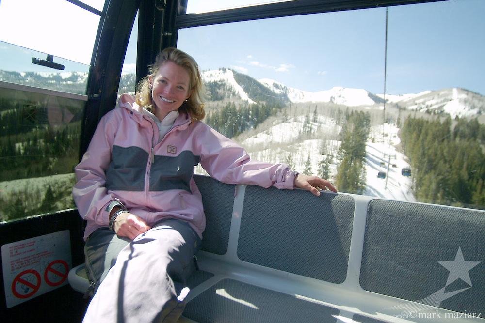 Jen in Flight of The Canyons gondola at The Canyons, Park City, Utah USA